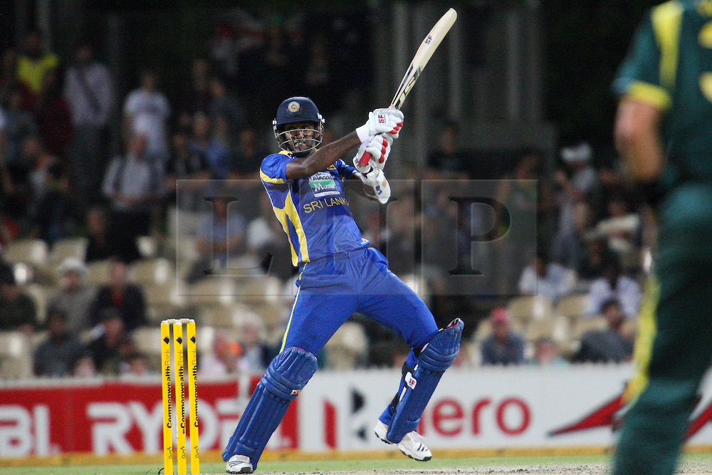 © Licensed to London News Pictures. 08/03/2012. Adelaide Oval, Australia. Farveez Maharoof plays a cut shot during the One Day International cricket match final between Australia Vs Sri Lanka. Photo credit : Asanka Brendon Ratnayake/LNP