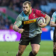 Joe Marler in action, Harlequins v Cardiff Blues in a European Challenge Cup match at Twickenham Stoop, Twickenham, London, England, on 17th January 2016