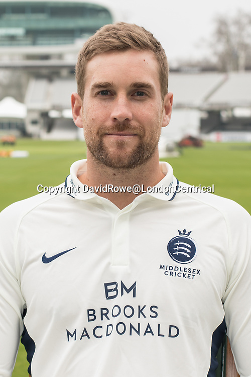 11 April 2018, London, UK.  Dawid Malan of Middlesex County Cricket Club in the County Championship white kit .