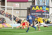 Colin Doyle (#13) of Heart of Midlothian and Tom Aldred (#5) of Motherwell FC watch the ball creep over the line for the winning Motherwell goal during the Ladbrokes Scottish Premiership match between Motherwell FC and Heart of Midlothian FC at Fir Park, Stadium, Motherwell, Scotland on 17 February 2019.