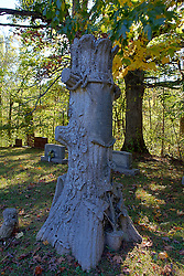 08 October 2013:   Grave marker that simulates an oak tree marks the resting place of a person passed in a small cemetery in Yellowwood State Forest.<br /> <br /> Yellowwood State Forest was created on leased federal land in 1940.  It was later (1956) deeded to the state of Indiana.  More than 2000 vacant and eroded acres were planted with pine, black locust, black walnut, and red and white oak.  Yellowwood Lake is 133 acres and about 30 feet deep. This image was produced in part utilizing High Dynamic Range (HDR) processes. It should not be used editorially without being listed as an illustration or with a disclaimer. It may or may not be an accurate representation of the scene as originally photographed and the finished image is the creation of the photographer.
