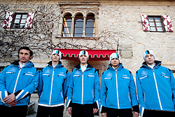 Official photo of  Slovenia Nordic Ski jumping team for European Youth Olympic Festival (EYOF) in Liberec (CZE) at official presentation, on February  9, 2011 at Bled Castle, Slovenia. (Photo By Vid Ponikvar / Sportida.com)