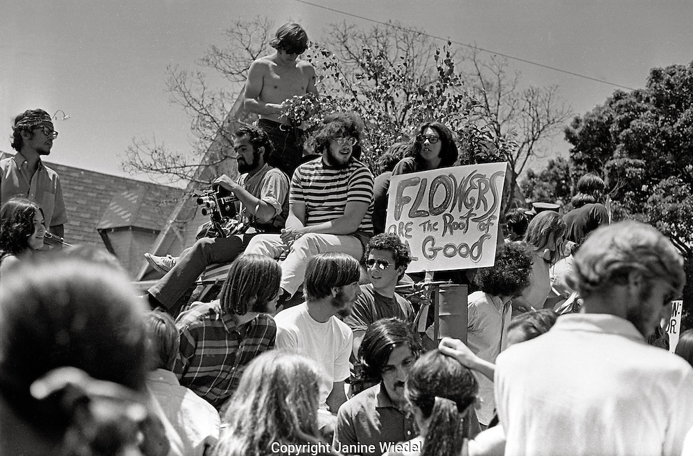 Memorial day march during People's Park Student protest & riots in Berkeley California May 30 1969