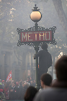 demonstration against the retrait reform legislation of the Sarkozy government,  Bd. Haussmann, Paris..Photograph by Owen Franken - Photograph by Owen Franken