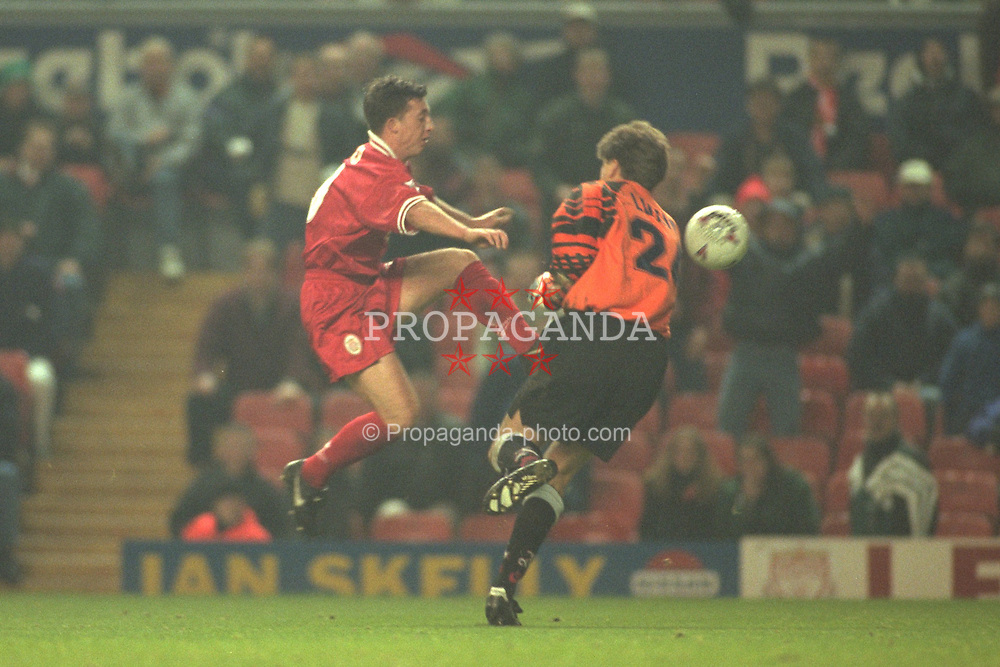 Liverpool, England - Wednesday, November 27th, 1996: Liverpool's Robbie Fowler and Arsenal's goalkeeper John Lukic during the 4th Round of the League Cup at Anfield. (Pic by David Rawcliffe/Propaganda)