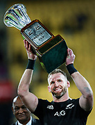 All Blacks Captain Kieran Read holds aloft the Freedom Cup during the Rugby Championship match between the New Zealand All Blacks & South Africa at Westpac Stadium, Wellington on Saturday 27th July 2019. Copyright Photo: Grant Down / www.Photosport.nz