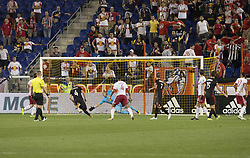 September 27, 2017 - Harrison, New Jersey, United States - Zoltan Steiber (not pictured) of DC United scores goal during regular MLS game against New York Red Bullsd at Red Bull Arena Game ended in draw 3 - 3  (Credit Image: © Lev Radin/Pacific Press via ZUMA Wire)