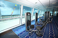 Celebrity Equinox, a brand new cruise ship belonging to Celebrity Cruises, during her river conveyance down the River Emms from the shipyard where she was built to the open sea..Onboard feature photos. (ship unfinished).Fitness suite