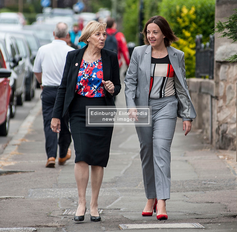 Scottish Labour leader Kezia Dugdale arrives to cast her vote in the general election at her local polling station in Lochend, Edinburgh with local councillor Joan Griffiths..<br /> <br /> © Dave Johnston/ EEm
