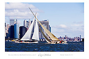 Two classic wooden sailboats, Black Watch and 12 Metre Class Northern Light, sailing with lower Manhattan and the Brooklyn Bridge in the background.