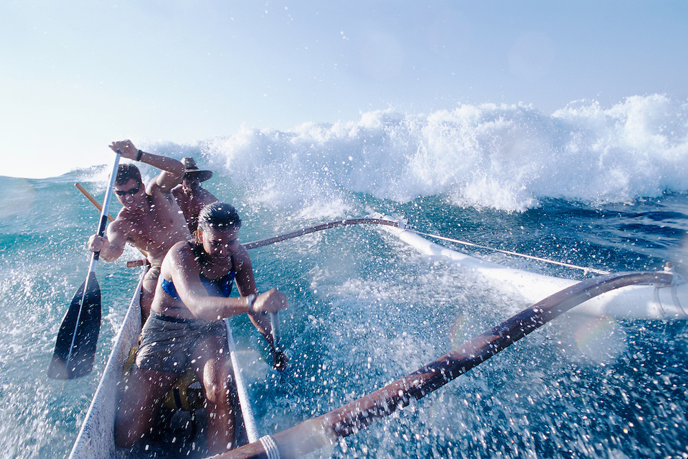 Big Island, Hawaii, Mauna Lani, South Kohala Coast, surfing canoe