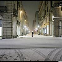 Nella foto Via Roma.. Turin under snow, Torino sotto la neve.