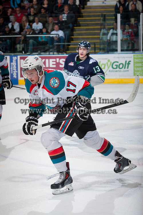 KELOWNA, CANADA - APRIL 5: Marek Tvrdon #17 of the Kelowna Rockets skates against the Seattle Thunderbirds on April 5, 2014 during Game 2 of the second round of WHL Playoffs at Prospera Place in Kelowna, British Columbia, Canada.   (Photo by Marissa Baecker/Getty Images)  *** Local Caption *** Marek Tvrdon;