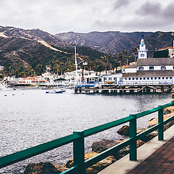 Catalina Island Avalon Bay Casino Way panorama photo. Panoramic photo ratio is 1:3. Picture includes Catalina Island Yacht Club and Avalon city waterfront businesses. Catalina Island is a popular travel destination off the coast of Southern California in the United States.