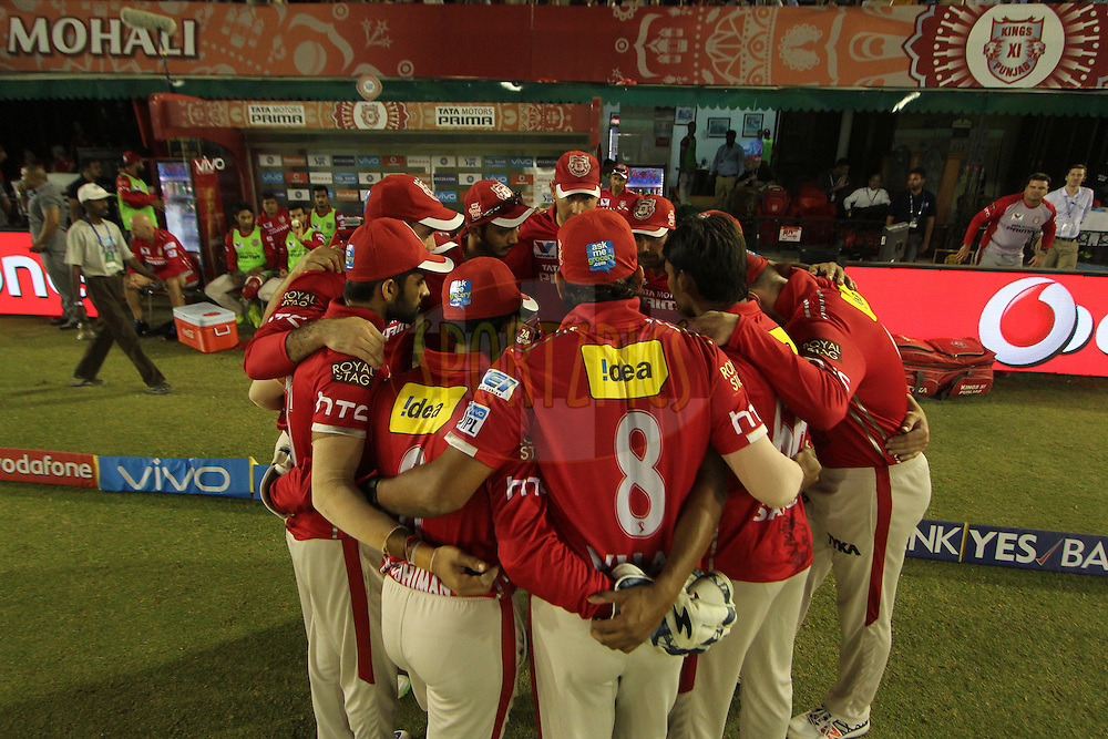 Kings XI Punjab  hurdel during match 13 of the Vivo Indian Premier League ( IPL ) 2016 between the Kings XI Punjab and the Kolkata Knight Riders held at the IS Bindra Stadium, Mohali, India on the 19th April 2016<br /> <br /> Photo by Arjun Singh / IPL/ SPORTZPICS