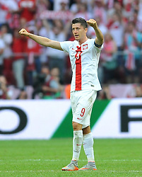 13.06.2015, Nationalstadion, Warschau, POL, UEFA Euro 2016 Qualifikation, Polen vs Greorgien, Gruppe D, im Bild ROBERT LEWANDOWSKI RADOSC PO WYGRANYM // during the UEFA EURO 2016 qualifier group D match between Poland and Greorgia at the Nationalstadion in Warschau, Poland on 2015/06/13. EXPA Pictures © 2015, PhotoCredit: EXPA/ Pixsell/ RAFAL RUSEK<br /> <br /> *****ATTENTION - for AUT, SLO, SUI, SWE, ITA, FRA only*****