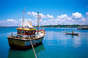 Sri Lanka..Trincomalee Harbour and a fishing boat.