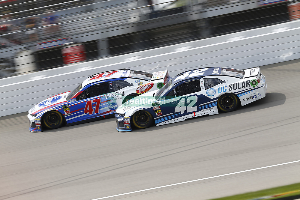 August 12, 2018 - Brooklyn, Michigan, United States of America - Kyle Larson (42) and AJ Allmendinger (47) battle for position during the Consumers Energy 400 at Michigan International Speedway in Brooklyn, Michigan. (Credit Image: © Chris Owens Asp Inc/ASP via ZUMA Wire)