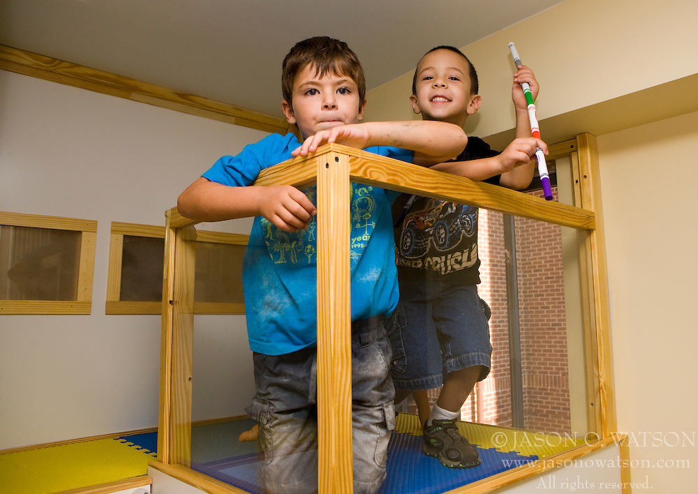 CHARLOTTESVILLE, VA - September 5, 2008 - 5 year olds Coby (left) and Ben (right) play in a loft constructed in their kindergarten class.  The Charlottesville Beth Israel Preschool has established a new kindergarten program that focuses less on test-taking and emphasizes creativity and critical thinking along with academic skills.  (Special to the Daily Progress / Jason O. Watson)