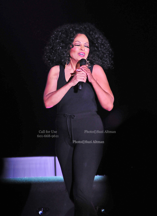 """The grand finale , after performing her last song Miss Ross struts back on stage wearing only a black tank top and black tights and blows kisses to the audience. Legendary singer, songwriter and performer Diana Ross brings down the house at her opening show of her 2011 """"More Than Yesterday"""" North America Tour Friday  Feb. 25,2011 night in Philadelphia Mississippi at the  Pearl River Casino in their newly renovated 5000 seat """"Arena"""". """" Miss Ross""""  opened the show with """" I'm Coming OUt """" and continued to thrill for the next 90 minutes and 5 costume changes. Photo©Suzi Altman"""