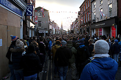The Hug is followed by locals in the town centre - Mandatory byline: Robbie Stephenson/JMP - 09/02/2016 - FOOTBALL -  - Ashbourne, England - Up'Ards v Down'Ards - Royal Shrovetide Football