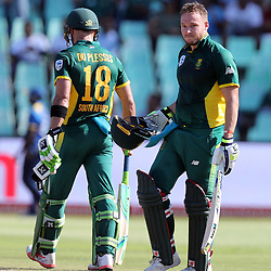 David Miller of the (South African Proteas) with Faf du Plessis of the (South African Proteas) during the 2nd ODI Momentum One-Day International (ODI) series South African and Sri Lanka at Kingsmead, Durban, South Africa.1st February 2017 - (Photo by Steve Haag)