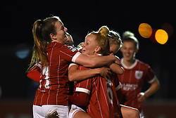 Lauren Hemp celebrates with Danique Kerkdijk of Bristol City Women - Mandatory by-line: Paul Knight/JMP - 02/12/2017 - FOOTBALL - Stoke Gifford Stadium - Bristol, England - Bristol City Women v Brighton and Hove Albion Ladies - Continental Cup Group 2 South