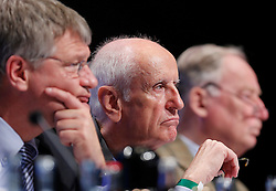 30.04.2016, Messe, Stuttgart, GER, 5. Bundesparteitag der AfD, im Bild Albrecht Glaser, Stellvertretender Vorsitzender der AFD,daneben Prof. Dr. Jörg Meuthen und, Dr. Alexander Gauland // during the 5th party convention of the Alternative for Germany (AfD) at the Messe in Stuttgart, Germany on 2016/04/30. EXPA Pictures © 2016, PhotoCredit: EXPA/ Sammy Minkoff<br /> <br /> *****ATTENTION - OUT of GER*****