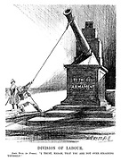 """Division of Labour. John Bull (to France). """"I trust, madam, that you are not over-straining yourself."""" (an InterWar cartoon shows John Bull pulling down the artillery cannon monument To The God Of Armament as France looks on)"""
