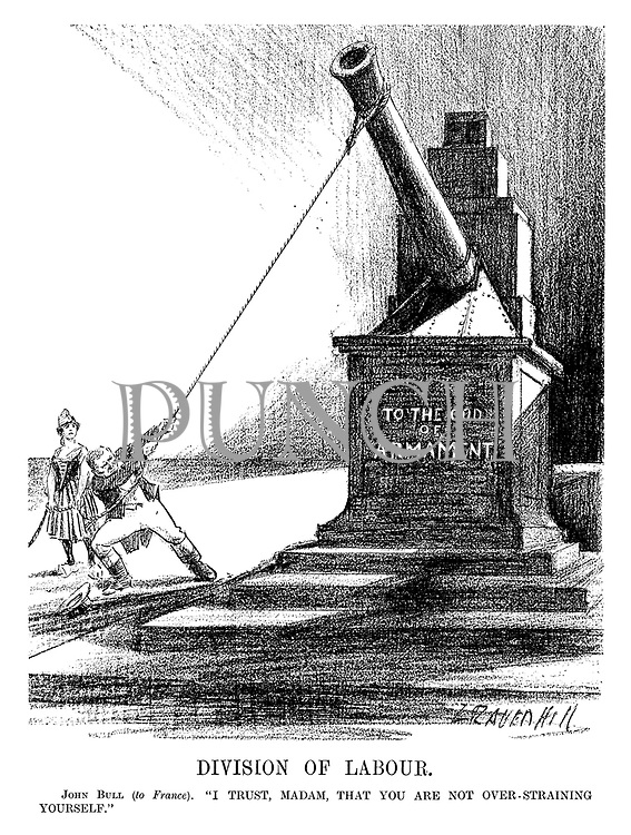 "Division of Labour. John Bull (to France). ""I trust, madam, that you are not over-straining yourself."" (an InterWar cartoon shows John Bull pulling down the artillery cannon monument To The God Of Armament as France looks on)"