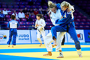 Warsaw, Poland - 2017 April 20: Daria Bilodid from Ukraine (white) competes with Eva Csernoviczki from Hungary (blue) in the women&rsquo;s 48kg semifinal during European Judo Championships 2017 at Torwar Hall on April 20, 2017 in Warsaw, Poland.<br /> <br /> Mandatory credit:<br /> Photo by &copy; Adam Nurkiewicz / Mediasport<br /> <br /> Adam Nurkiewicz declares that he has no rights to the image of people at the photographs of his authorship.<br /> <br /> Picture also available in RAW (NEF) or TIFF format on special request.<br /> <br /> Any editorial, commercial or promotional use requires written permission from the author of image.