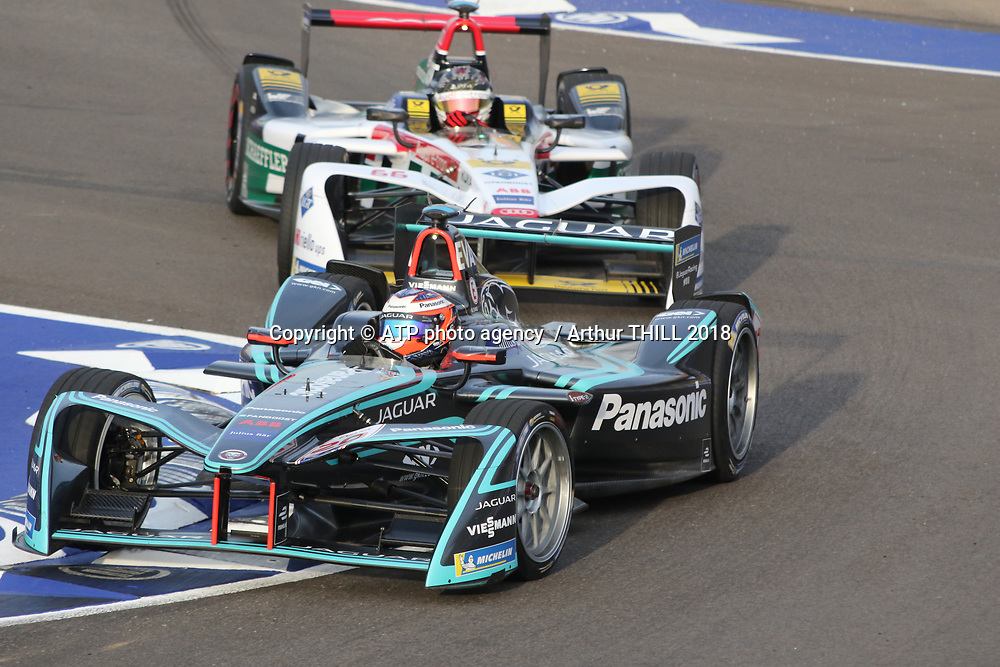 20, Mitch Evans (NZL) - Panasonic Jaguar Racing, Jaguar I-Type 2 ahead of Daniel ABT, AUDI<br /> E-Prix, FIA Formula E, Formula E Grand Prix in Marrakesh, Morocco on 13 January 2018. Circuit International Automobile Moulay El Hassan -  Formel E, Elektro e-prix Autorennen, Marrakesch, Marokko, Maroc, <br /> fee liable image, copyright@ ATP Arthur THILL