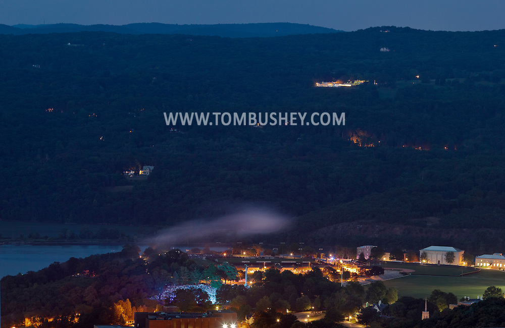 West Point, New York - Smoke hangs over Trophy Point at the U.S. Military Academy at the start of the fireworks display after the West Point Band's Fourth of July Celebration Concert on July 8, 2012. The photograph was taken from the Route 9W overlook.