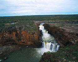 Aerial view of Mitchell Falls in the Kimberley wet season.
