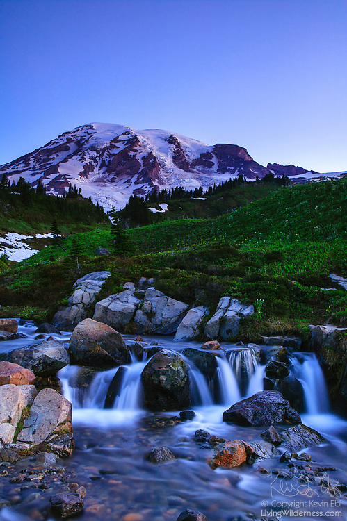 Mount Rainier, the tallest mountain in Washington state, rises above Edith Creek, which flows through a meadow at Paradise in Mount Rainier National Park, Washington.
