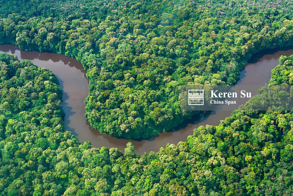 Aerial view of Potaro River fedding to Kaieteur Falls, Guyana
