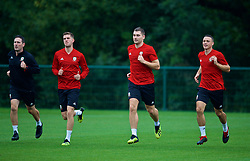CARDIFF, WALES - Monday, September 3, 2018: Wales' Chris Mepham, Sam Vokes and James Chester during a training session at the Vale Resort ahead of the UEFA Nations League Group Stage League B Group 4 match between Wales and Republic of Ireland. (Pic by David Rawcliffe/Propaganda)