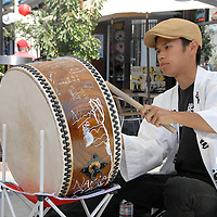 Danjiri Bayastti plays the drums at Little Tokyo, Los Angeles on Wednesday, August 24, 2011.