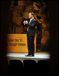 Deputy Prime Minister Nick Clegg and Leader of the Liberal Democrats rehearsing his speech on stage for the start of the Liberal Democrat Party Conference in Brighton, Saturday September 22, 2012 Photo Andrew Parsons / i-Images..
