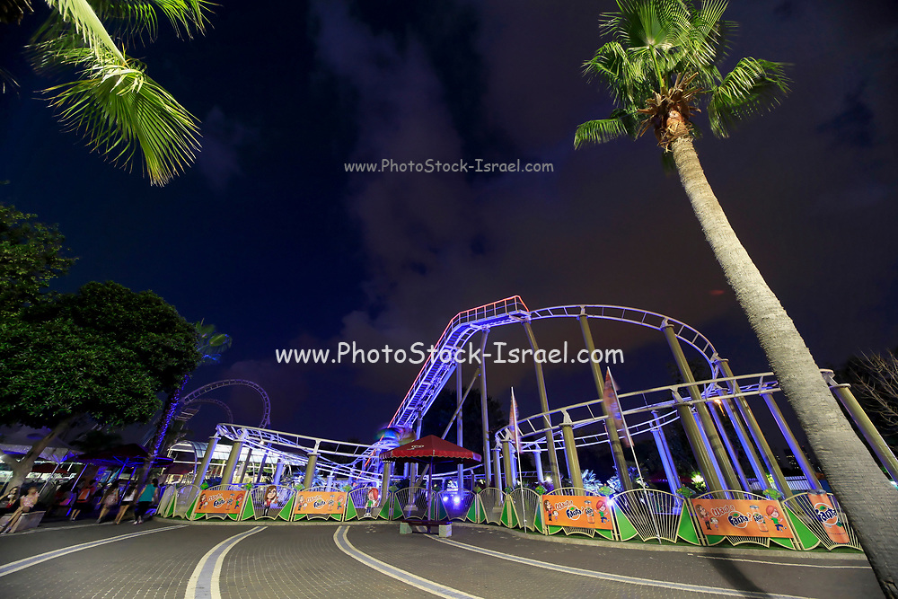 Amusement Park at night with motion blur
