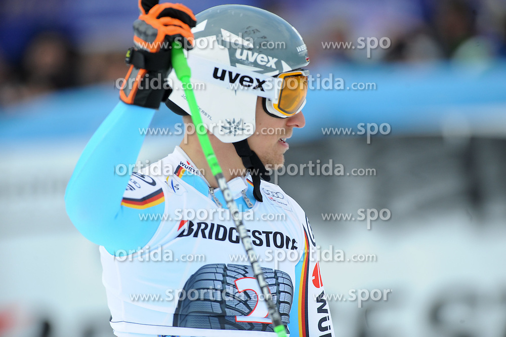 28.02.2015, Kandahar, Garmisch Partenkirchen, GER, FIS Weltcup Ski Alpin, Garmisch Partenkirchen, Abfahrt, Herren, im Bild Josef Ferstl of Germany // reacts after his run for the men's Downhill of the FIS Ski Alpine World Cup at the Kandahar in Garmisch Partenkirchen, Germany on 2015/02/28. EXPA Pictures © 2015, PhotoCredit: EXPA/ Erich Spiess
