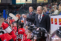 KAMLOOPS, CANADA - NOVEMBER 5: Team WHL head coach Tim Hunter stands on the bench with Assistant Coach Brent Kisio against the Team Russia  on November 5, 2018 at Sandman Centre in Kamloops, British Columbia, Canada.  (Photo by Marissa Baecker/Shoot the Breeze)