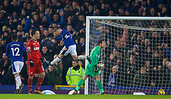 LIVERPOOL, ENGLAND - Monday, December 18, 2017: Everton's Wayne Rooney celebrates scoring the third goal from a penalty kick, despite missing a penalty earlier in the first half, during the FA Premier League match between Everton and Swansea City at Goodison Park. (Pic by David Rawcliffe/Propaganda)
