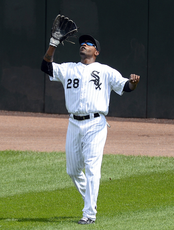 CHICAGO - SEPTEMBER 05:  DeWayne Wise #28 of the Chicago White Sox fields against the Minnesota Twins on September 05, 2012 at U.S. Cellular Field in Chicago, Illinois.  The White Sox defeated the Twins 6-2.  (Photo by Ron Vesely)  Subject:    DeWayne Wise