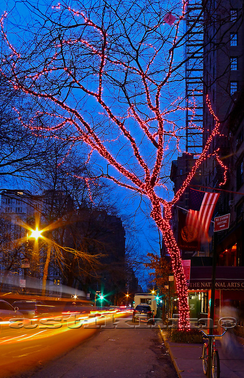 Manhattan street in twilight.