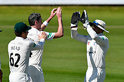 Wicket - Steve Magoffin of Worcestershire celebrates taking the wicket of Marcus Trescothick of Somerset during the Specsavers County Champ Div 1 match between Somerset County Cricket Club and Worcestershire County Cricket Club at the Cooper Associates County Ground, Taunton, United Kingdom on 20 April 2018. Picture by Graham Hunt.
