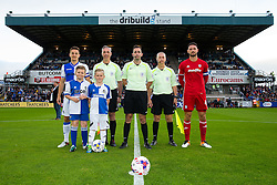 Captains Tom Lockyer of Bristol Rovers and Sean Morrison of Cardiff City pose with the mascots and officials before kick off - Rogan Thomson/JMP - 11/08/2017 - FOOTBALL - Memorial Stadium - Bristol, England - Bristol Rovers v Cardiff City - EFL Cup First Round.
