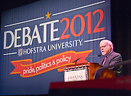 Sept. 19, 2012 - Hempstead, New York, U.S. - STUART RABINOWITZ, President of Hofstra University, introduces the lecture by former Florida Governor Jeb Bush, speaking at Hofstra University about ?America's Promise in Uncertain Times.? This lecture is part of ?Debate 2012 Pride Politics and Policy,' a series of events leading up to when Hofstra hosts the 2nd Presidential Debate between Pres. Barack Obama and Mitt Romney, on October 16, 2012, in a Town Meeting format.