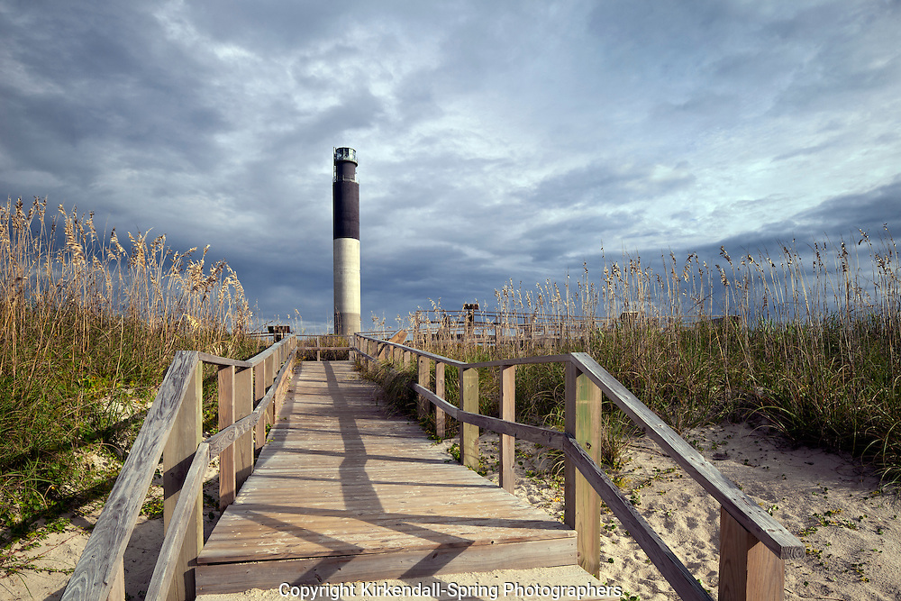 NC00555-00...NORTH CAROLINA - Oak Island Lighthouse at Caswell Beach near the mouth of the Cape Fear River.