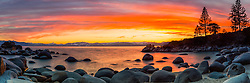 """Secret Cove Sunset 1"" - Panoramic photograph of a vibrant orange sunset at Secret Cove, Lake Tahoe."